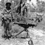Captured Type 92 Lewis machine gun on tripod, Makin 1943