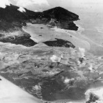 Aerial View as US Planes Bomb Japanese Ships at Rabaul Harbor
