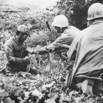 6th Division Marine with Japanese soldier on Okinawa