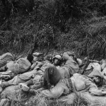 96th Division Troops Sleep after Capturing Big Apple Hill Okinawa