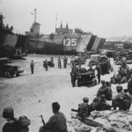 Ie Shima beach jeeps and LST 1945