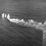 Japanese Ship Under Attack during Third Fleet Raid on Okinawa October 10, 1944
