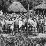 Japanese prisoners of war captured by Marines of the 6th Division in POW stockade at Okuku Okinawa.