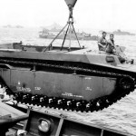 LVT Buffalo Being Lowered into Water off Okinawa's Orange Beach 1945