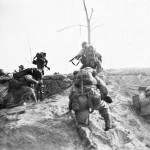 Marine Infantry with Thompson and M1 Carbine Okinawa April 15 1945