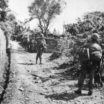 Marines March into Sobe during Invasion of Okinawa