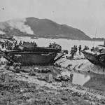 Marines and LVT on the beach of Iheya Jima Off Okinawa 16 July 45