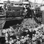 Marines board Transport for Invasion of Okinawa