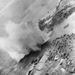 Planes Low Level Attack at Mouth of Bishi River pre invasion bombardment of Okinawa 1945