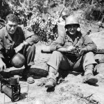 Soldiers Warming Rations on Portable Stove on Okinawa