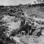 Tractor Jeep and M7 Priest Stuck in Mud on Okinawa 1945