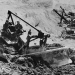 Troops Operate Bulldozer on Okinawa Airfield