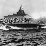 USS West Virginia BB-48 Covers Troops in LVT B111 Heading for Okinawa