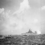 Battleship USS West Virginia BB-48 bombarding Okinawa