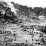 Japanese In Caves Shelled By US Tanks Peleliu Island Palau Group October 1944