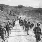 27th Infantry Division US Army Troops March to Front Lines on Saipan