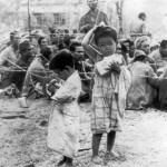 American troops give candy to japanese children Saipan