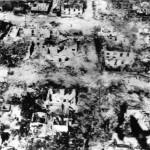 Bombed shelled ruins of Garapan Saipan 1944 aerial photo