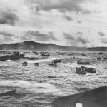 First Assault Wave of Landing Craft Massed for Saipan Invasion 1944