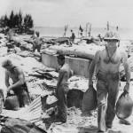 Marine sandbags his foxhole Saipan 1944