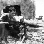 Marine with Captured Japanese Type 92 7,7 mm Machine Gun Saipan