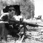 Marine with Captured Japanese Type 92 7,7 mm Machine Gun Saipan