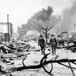 Marines enter blitzed Garapan 1944 Saipan