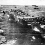 Troops in Landing Barges Await Signal for Saipan Invasion 1944