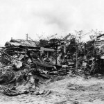 Wrecked bombed ruins of Charin Kanoa on Saipan 26 June 1944