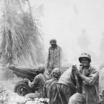 Marine 75 mm howitzer in action Tarawa