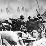 Marine throw a hand granade Tarawa 1943