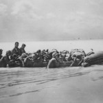 Marines Move Wounded On Rubber Raft Tarawa 1943