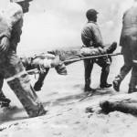 Marines Move Wounded Tarawa 1943