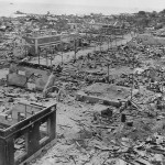 Bombed shelled ruins of town on Tinian Invasion 1944