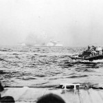 LVT loaded with Marines approaches Tinian 1944