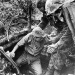 Marines Coax Japanese Soldier from Dugout on Tinian