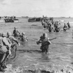 US Marines Wade Ashore on Tinian from Landing Barges and LVT