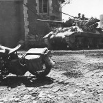 Camouflaged M10 Tank Destroyer And Harley Davidson In Percy France 08 1944