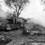 dug in American tank destroyer firing as artillery against Germans in Italy