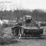 M2A4 tank crosses barrier during Maneuvers at Fort Belvoir 1941