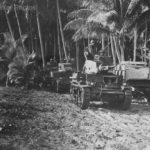 Marine M2 and M3 tanks move to front lines on Guadalcanal 1942
