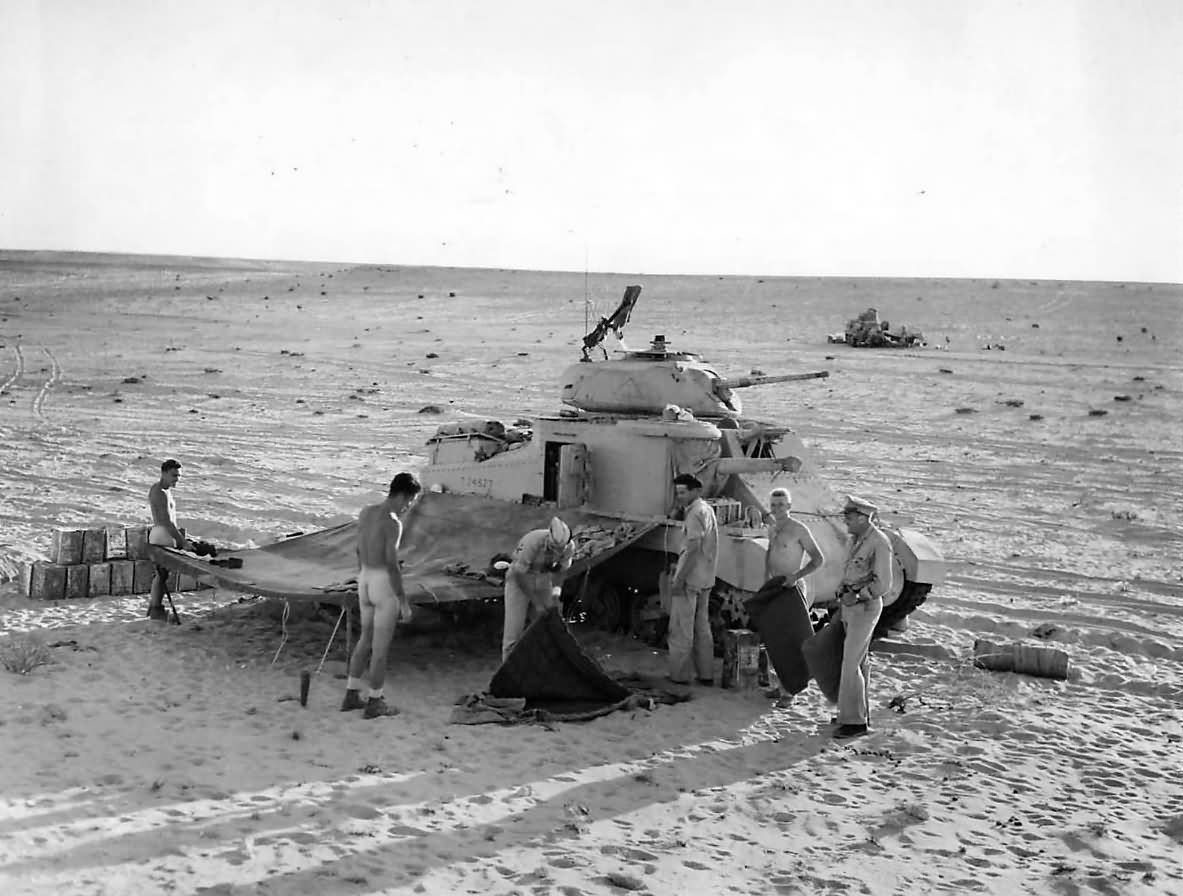 m3 grant tank crews set up for the night in egyptain desert 1942