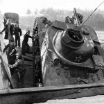 2nd Armored Division Troops Help Children Past Crashed M3 lee