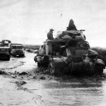 British M3 Grant Tank of 1st Armoured Division Heads Column of Jeeps and Trucks Western Desert November 1942