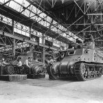 M3 Lee medium tanks on assembly line at the Chrysler Corporation's Tank Arsenal in Detroit 1941