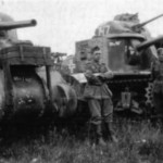 Captured M3 Lee and M4 Sherman tanks