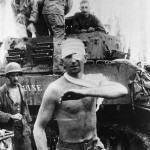 Battered M8 HMC Scott Tank Crew After Battle On Leyte 1945