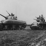 M4A1 Sherman Followed By M5 Stuart