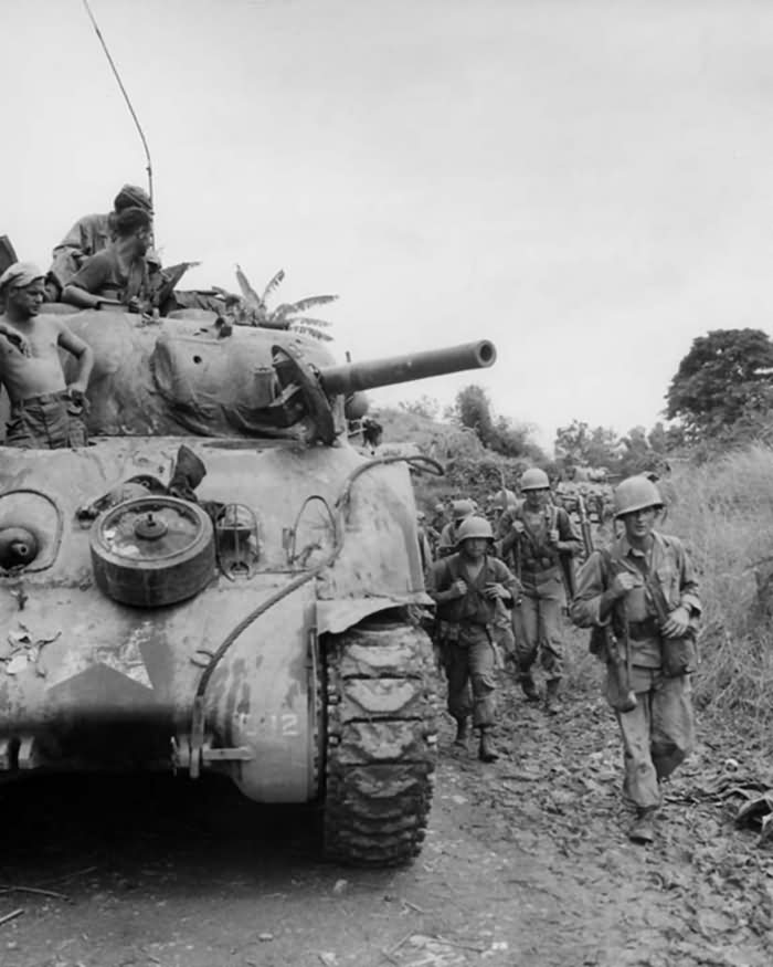 37th Infantry Division M4 Sherman and troops advance on Manila 1945