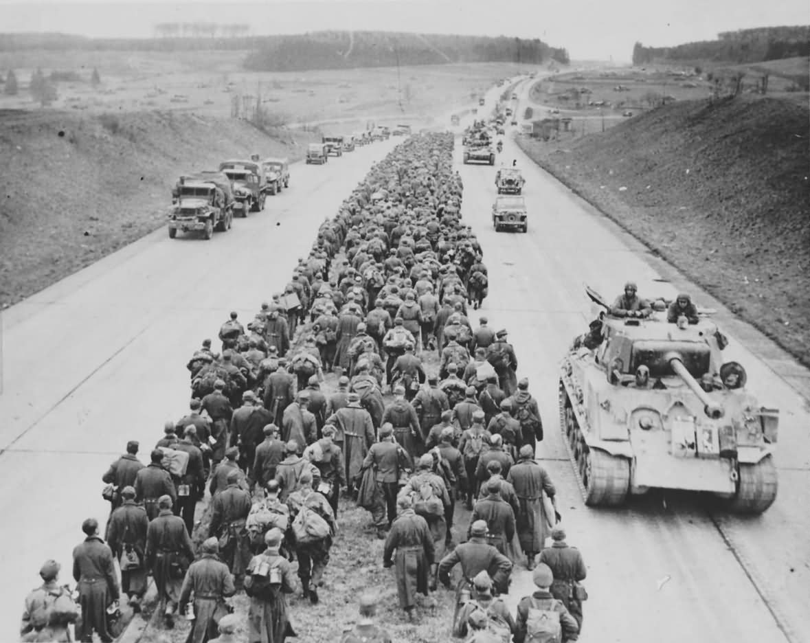 German Prisioners Autobahn Near Giesen And M4a3e8